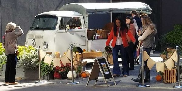 Flower Truck rental with products at market